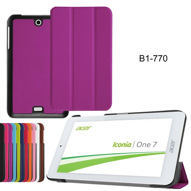 Ultra Slim Custer 3 Folder Folio Flip Stand Leather Magnetic Cover Protector Case For Acer Iconia