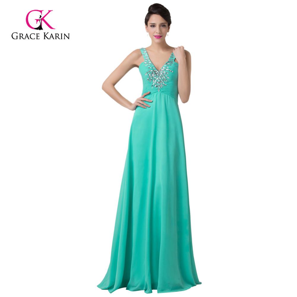 Turquoise crystal cheap evening dresses 2016 grace karin v for Formal dresses for weddings cheap
