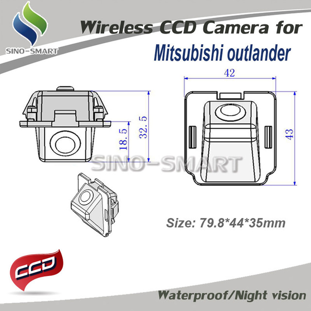 "Wireless CCD 1/3"" parking car rearview camera for Mitsubishi Outlander  car camera  Pixels:728*582 waterproof"
