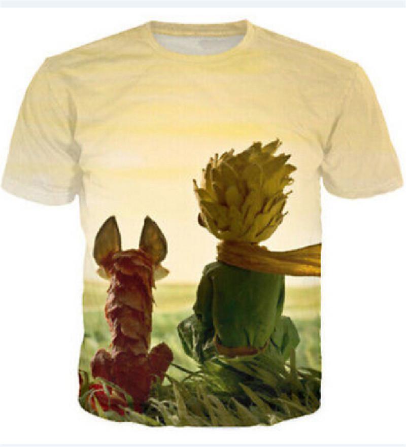 2016 Women/men 3d cartoon T Shirts The Little Prince T shirt O Neck Men Printed Hip Hop T-Shirt Tops Tees Famous Brand T Shirt(China (Mainland))