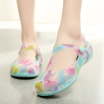 2016 New Candy Color Jelly Garden Sandals Shoes Soft Spring Summer Home Slippers Woman Mules Clogs