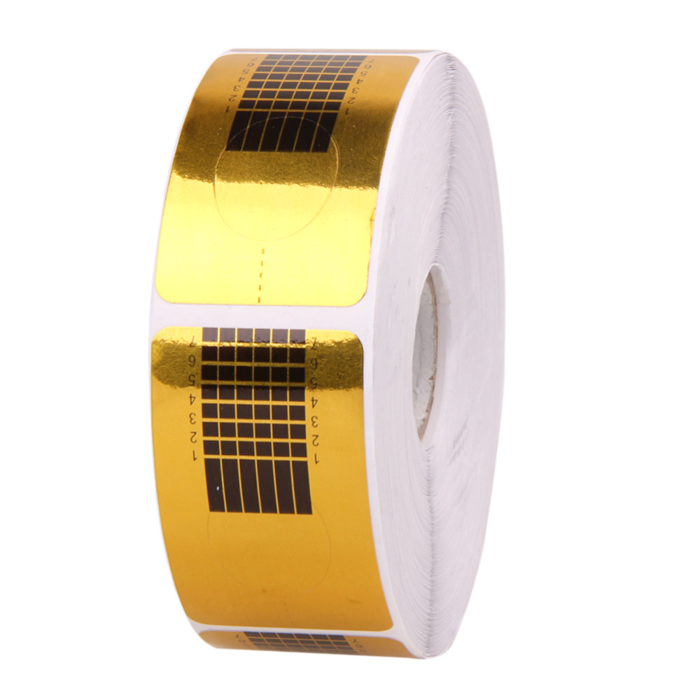 500Pcs Gold Nail Guide Sticker Tape Nail Art Sculpting Extension Nails Forms Guide Stickers Adhesive Acrylic UV Gel Tips