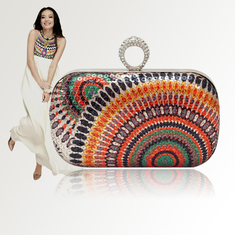 2015 Indian design finger ring buckle evening bag(China (Mainland))