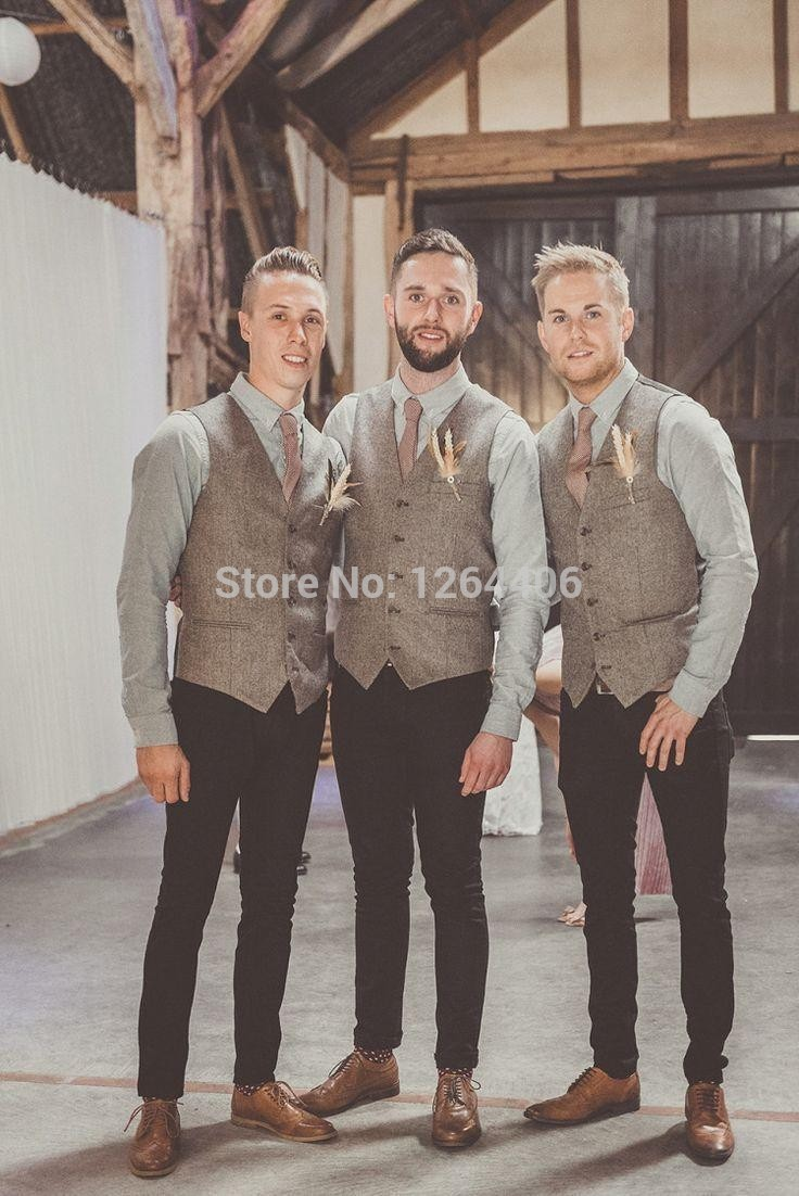 Newest Gray Tweed Vest Men Suit Vest Slim fit Groom's Wear Vest Wedding Waistcoat Hot Sale Mens Dress Vests Custom