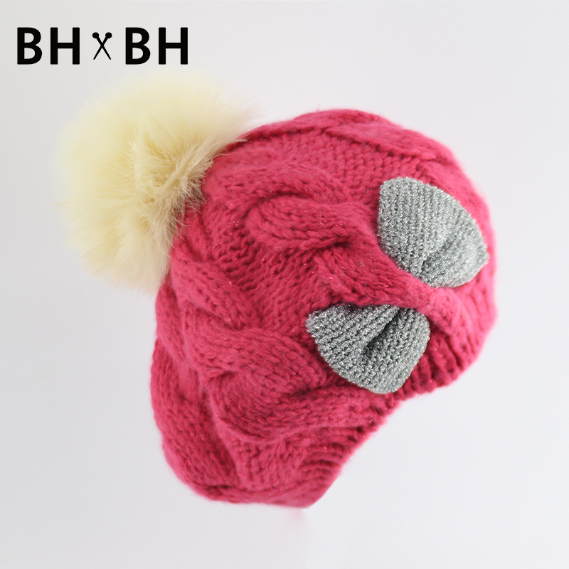 2016 New style women casual beret warm knitted beanie fur pom pom skullies cap with a bow chapeau BH-B2694(China (Mainland))