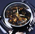 Orkina Luxury Clock Men Leather Skeleton Watch Classic Retro Black Golden Dial Relogio Male Masculino Mechanical