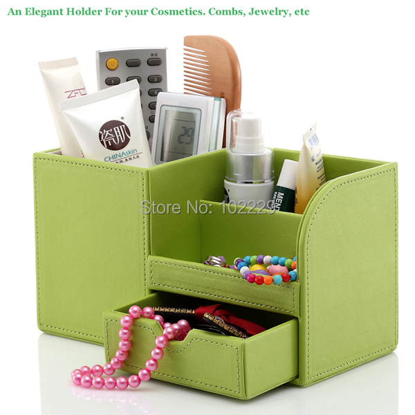 Refreshing wood leather Office/Home desk Makeup Holder cosmetics case Jewelry box stationery storage pen holder Green 1308(China (Mainland))
