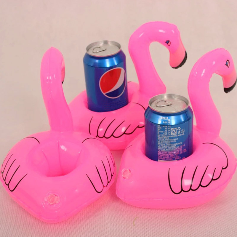 Cute Red Flamingo Drinks Can Holder Floating Inflatable Swimming Ring For Kids Baby Swimming Pool Toys(China (Mainland))