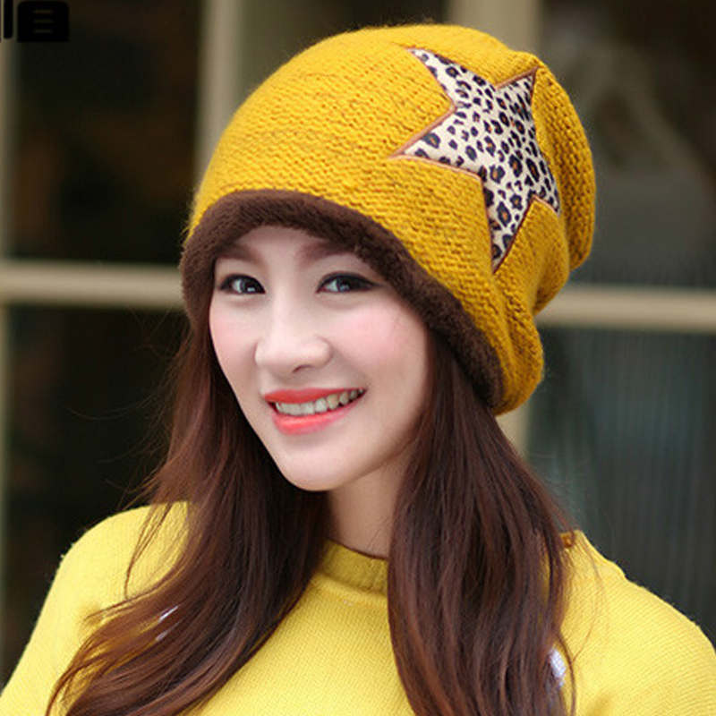 Fall Winter Fashion Womens Warm Thick Yellow Red Khaki Leopard Patchwork Knitted Hats Laides Casual Beanies , Women Cotton Hats(China (Mainland))