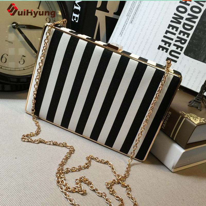 2016 New Women PU Leather Clutch Fashion Zebra Stripe Evening Bags Banquet Party Handbag Purse Ladies Chain Shoulder Bag(China (Mainland))
