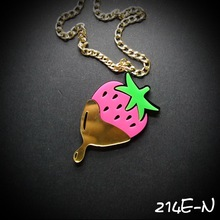 214E-N   Acrylic laser jewlery Funny Fruit Creative Strawberry Acrylic necklace