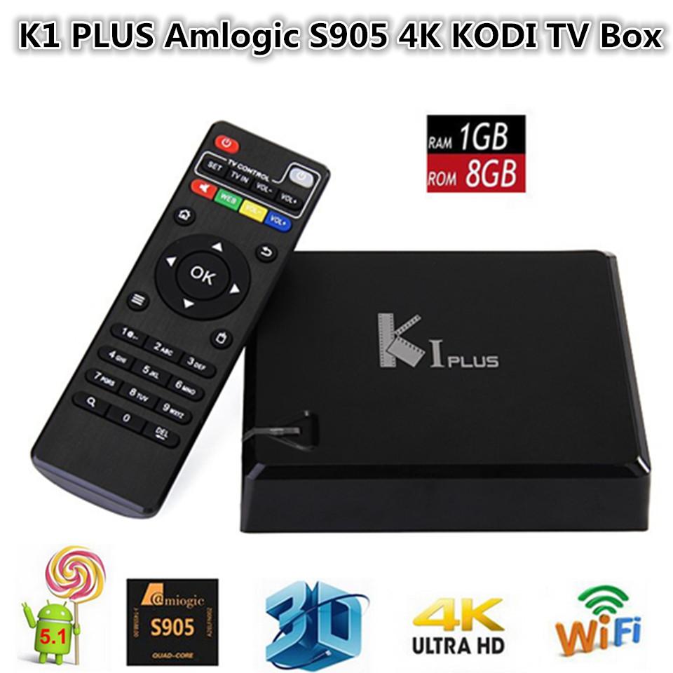 K1 PLUS Amlogic S905 4K KODI TV Box Android 5.1 1G/8G 2.4G WIFI LAN HDMI 3D DLNA AirPlay Miracast Netflix TV Receiver(China (Mainland))