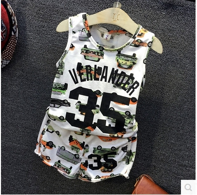 Children's 2016 summer new boys and girls sports print car casual Vest + Shorts Set(China (Mainland))