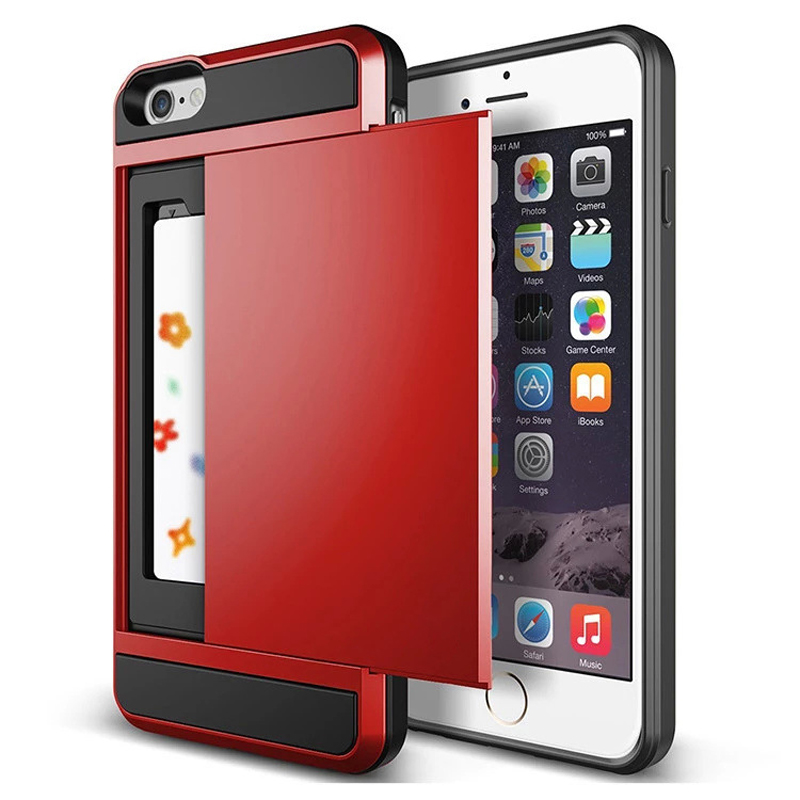 Hot ! Luxury Slim Hybrid Credit Card pocket wallet pouch Phone case PC Back Cover for Apple iPhone 6 6s 4.7'' inch cases(China (Mainland))