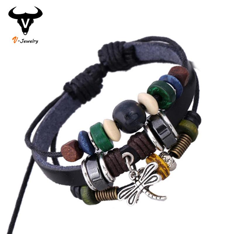 Tibetan Designer Vintage Adjustable Women Cuff Wristband Bracelets Dragonfly Pendants Genuine Black Leather Hand Wrap - V-jewelry Trade Co.,Ltd store