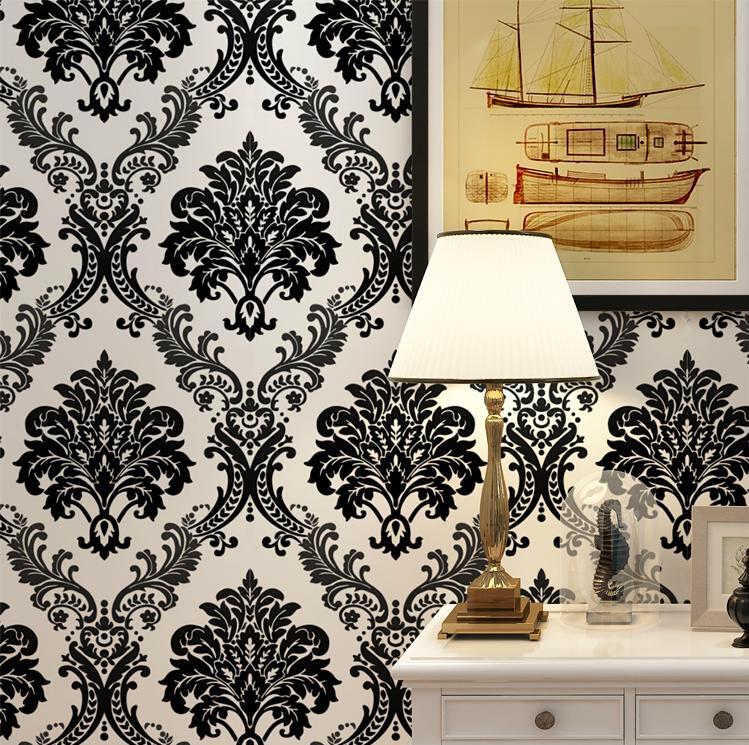 Vintage Luxury Black Damask On White Textured Embossed