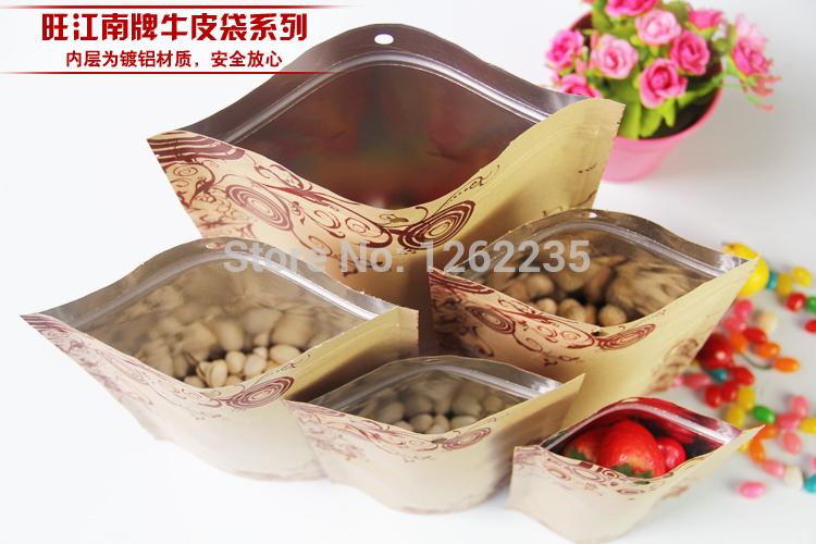14*22+ 4cm Grade printing kraft paper ziplock Kraft complex bone aluminum packaging bag Food ziplock Wholesale(China (Mainland))