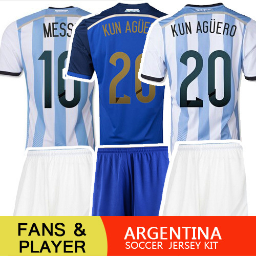 Argentina Jersey 2014 Home Away soccer jersey Argentina World Cup 2014 PLAYER VERSION MESSI Argentina Kits football uniforms(China (Mainland))