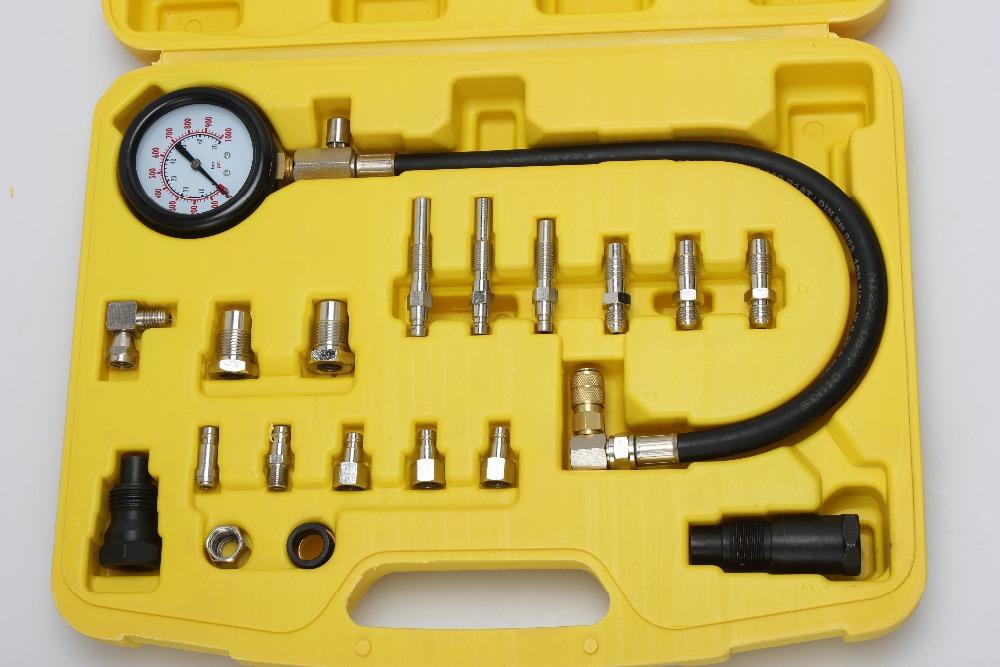 Motor Auto Petrol Gas Compression Gauge Tester Kit Car Dual Gauge Engine Oil Set Diesel cylinder Injection Pressure Tools(China (Mainland))