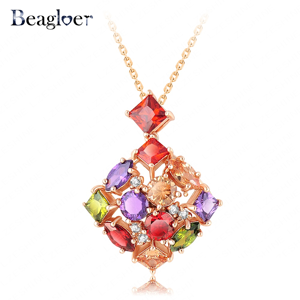 Beagloer New Arrival Elegant Pendant Neclace Gold Plated Multicolor Zircons Necklace Gift For Women NL0065-C(China (Mainland))