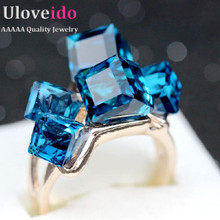Rose Gold Finger Topaz Jewelry Woman's Engagement Crystal Square Ring Women Anillos Punk  Zirconia Bridal Bague Femme 2015 GR123(China (Mainland))