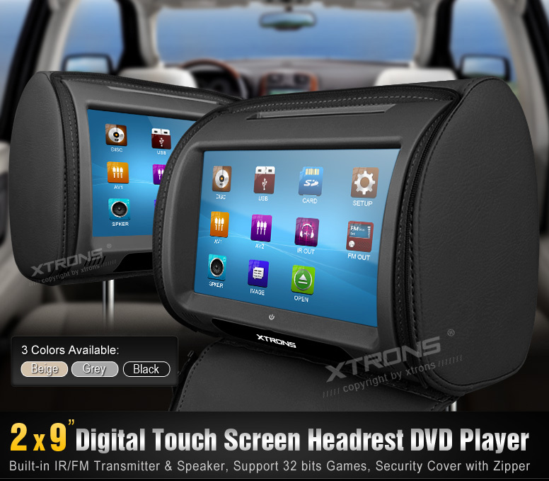 "Black 2x9"" Touch Screen Car Headrest DVD Player Car Pillow Monitor IR/FM Transmitter 800*480 & 1 Game Pad(China (Mainland))"