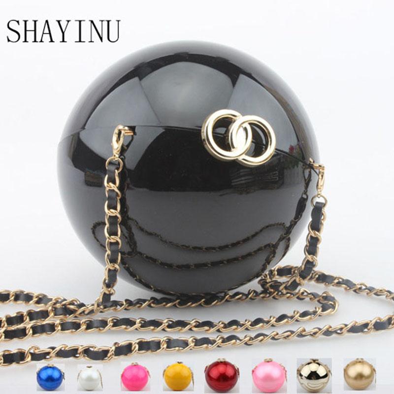 New popular Ball clutch bags round Circular shape handbags acrylic globes evening bag women bowling sacoche bags bolsa feminina(China (Mainland))