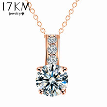 Women Jewelry Classic Necklace 18K Rose Gold Plated Austrian Crystal Round Pendant Necklaces collares Wholesale colliers 2015