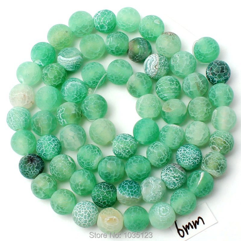 "Free Shipping 6mm Cracked Frosted Green Color Natural Agate Round Loose Beads Strand 15"" DIY Gem Creative Jewellery Making w2960(China (Mainland))"
