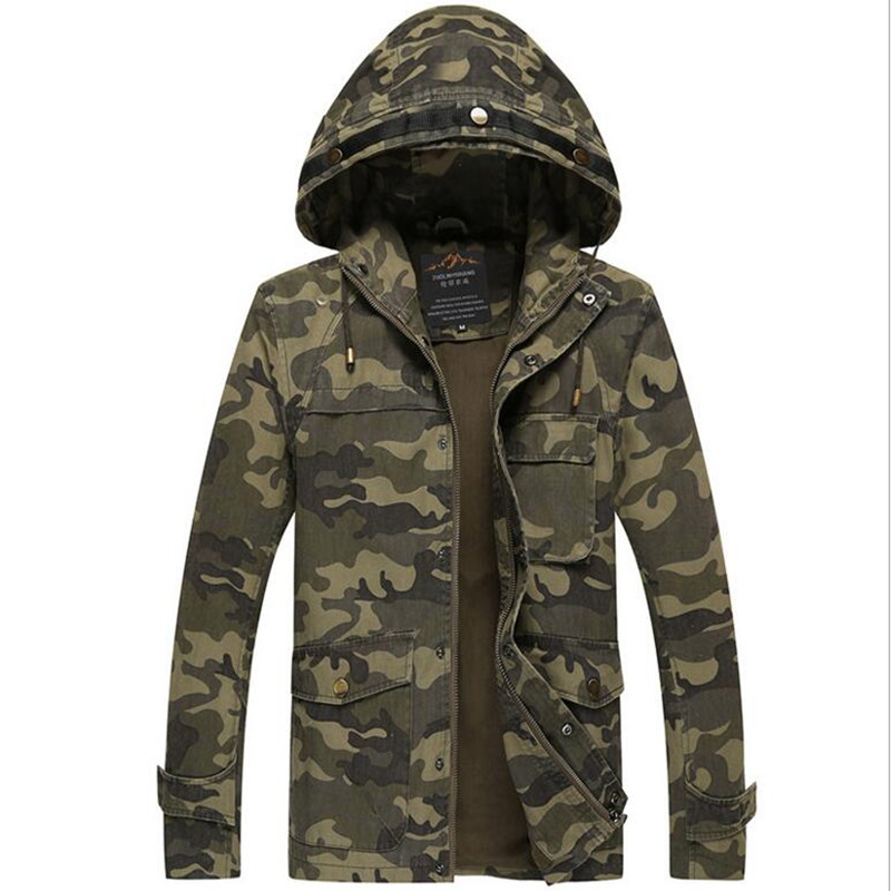 Military camouflage tide of new fund of 2016 autumn winters is men's jacket Cultivate one's morality hooded men casual jacket(China (Mainland))