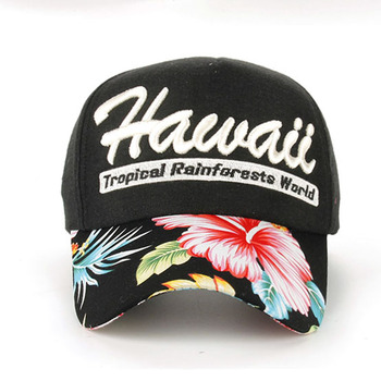 AliExpress pin large supply of Hawaii flower stitching cotton embroidered baseball cap B209 perspective