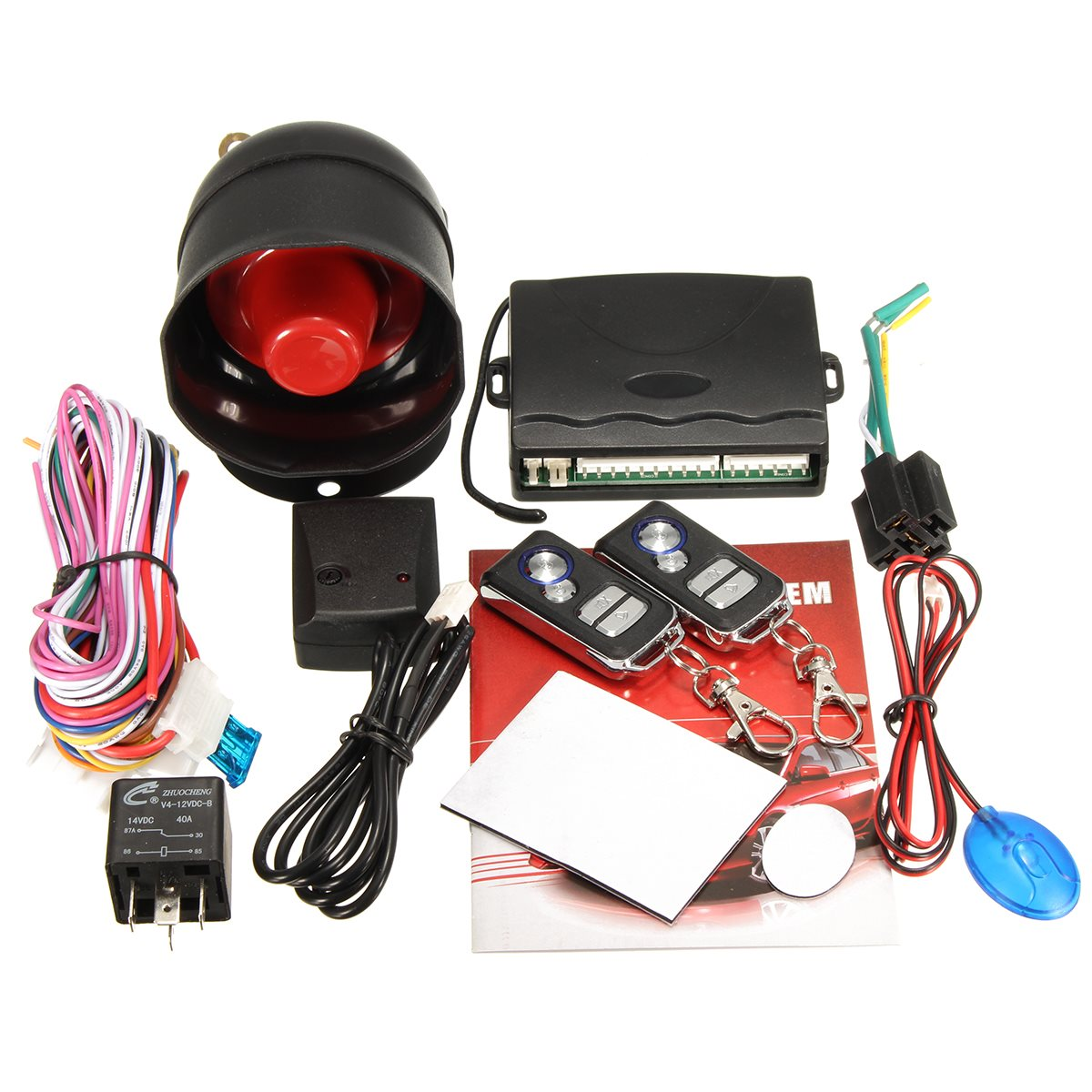 NEW Universal 1-Way Car Vehicle Alarm Protection Security System Keyless Entry Siren +2 Remote Control Burglar(China (Mainland))