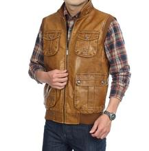 High quality Men's PU Leather vest Clothing  Outdoor Reporters Suit More Than Pocket Quinquagenarian Men Vest Tops(China (Mainland))