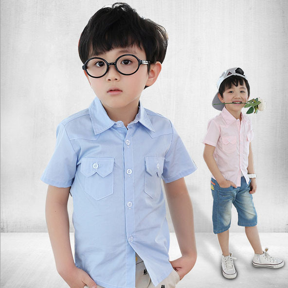 2015 New 3 Designs Kids Short Sleeve Dress Shirts with Pocket for Boys Brand 3-12 Years Boys Summer Cotton Dress Shirts, C015(China (Mainland))