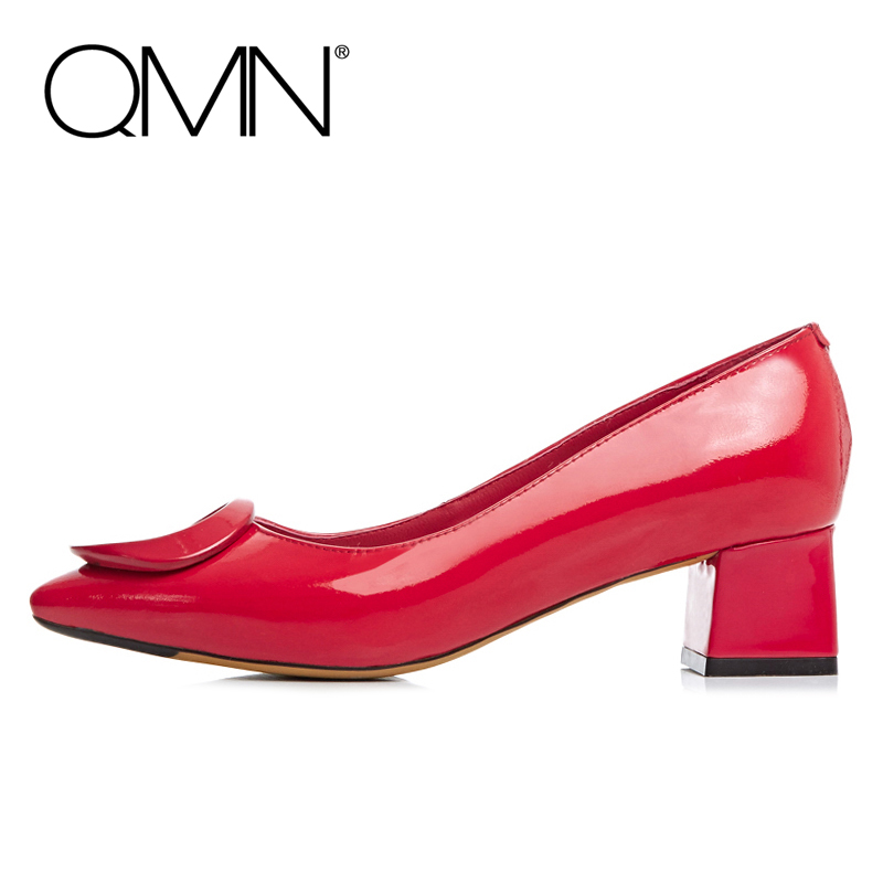 Фотография QMN genuine leather women pumps Women Med Heels Slip On Shoes Woman Heels Escarpins Ladies Shoes Zapatos Mujer Black/Red 34-39