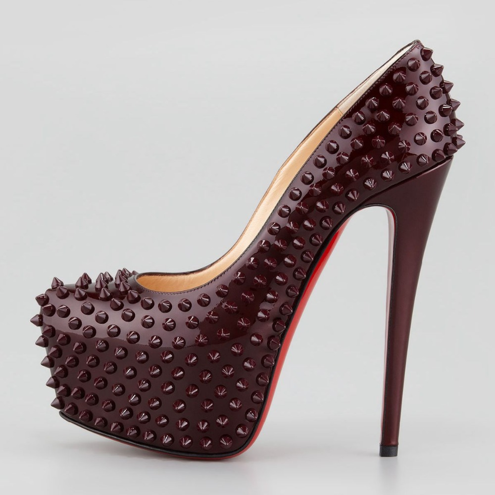 High 5CM Platform Classic Solid Woman Shoes 2015 Plus Size Handmade Thin High Heels Rivets Red Bottom Ladies Pumps Slip-On New<br><br>Aliexpress