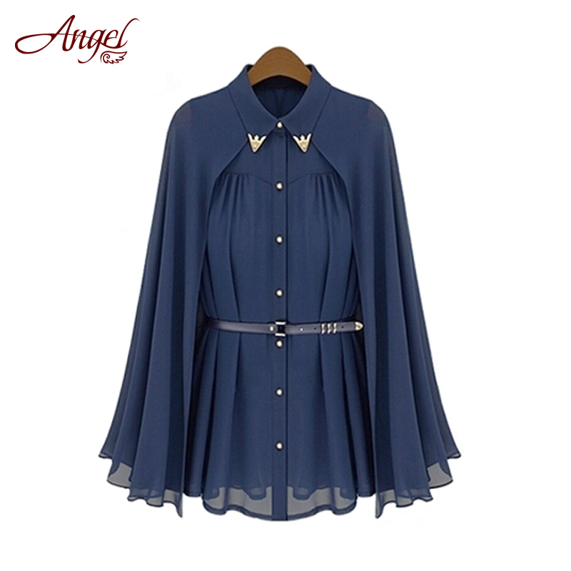 2016 Hot Summer Women Blouses Europe America New Cape Type Turn Down Collar Chiffon Shirt Female Tops Sun Protection Loose Shirt(China (Mainland))