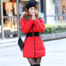 Winter thickening belt large fur collar medium-long down wadded jacket female cotton-padded jacket plus size outerwear dress