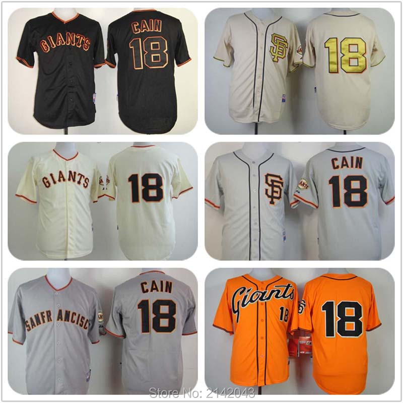 #18 Matt Cain SF Giants Jersey Cream Home Orange Gray Black 100% Stitched Matt Cain San Francisco Giants Men Baseball Jerseys(China (Mainland))