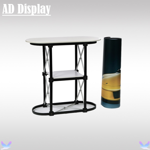Economical 1*2 Straight Portable Trade Show Reception Counter With Printed Graphic,Exhibition Pop Up Table Podium Banner Stand(China (Mainland))