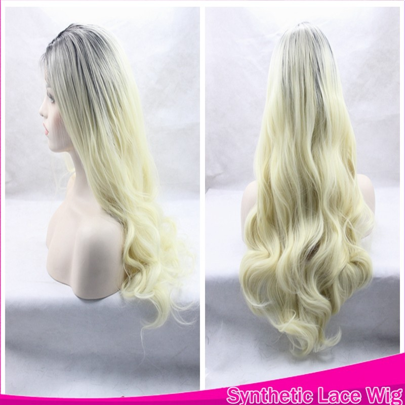 Cheap Ombre Wave Hair Wigs Kylie Jenner Glueless Cosplay Synthetic Front Lace Wig Two Tone Color Black To Faint Yellow  In Stock