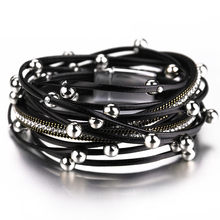 ALLYES wielowarstwowe skórzane bransoletki dla kobiet Femme kryształowe metalowe wisiorek z koralikami czeski Wrap bransoletka damska biżuteria(China)