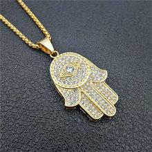 Turc Evil Eye Hamsa main de Fatima pendentif collier or acier inoxydable glacé pendentif et chaîne Hip Hop femmes/hommes bijoux(China)