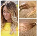 6A Grade Blonde Brazilian Straight Ombre Clip In Human Hair Extensions Light Golden Brown To Ash Blonde T10/22 Full Head