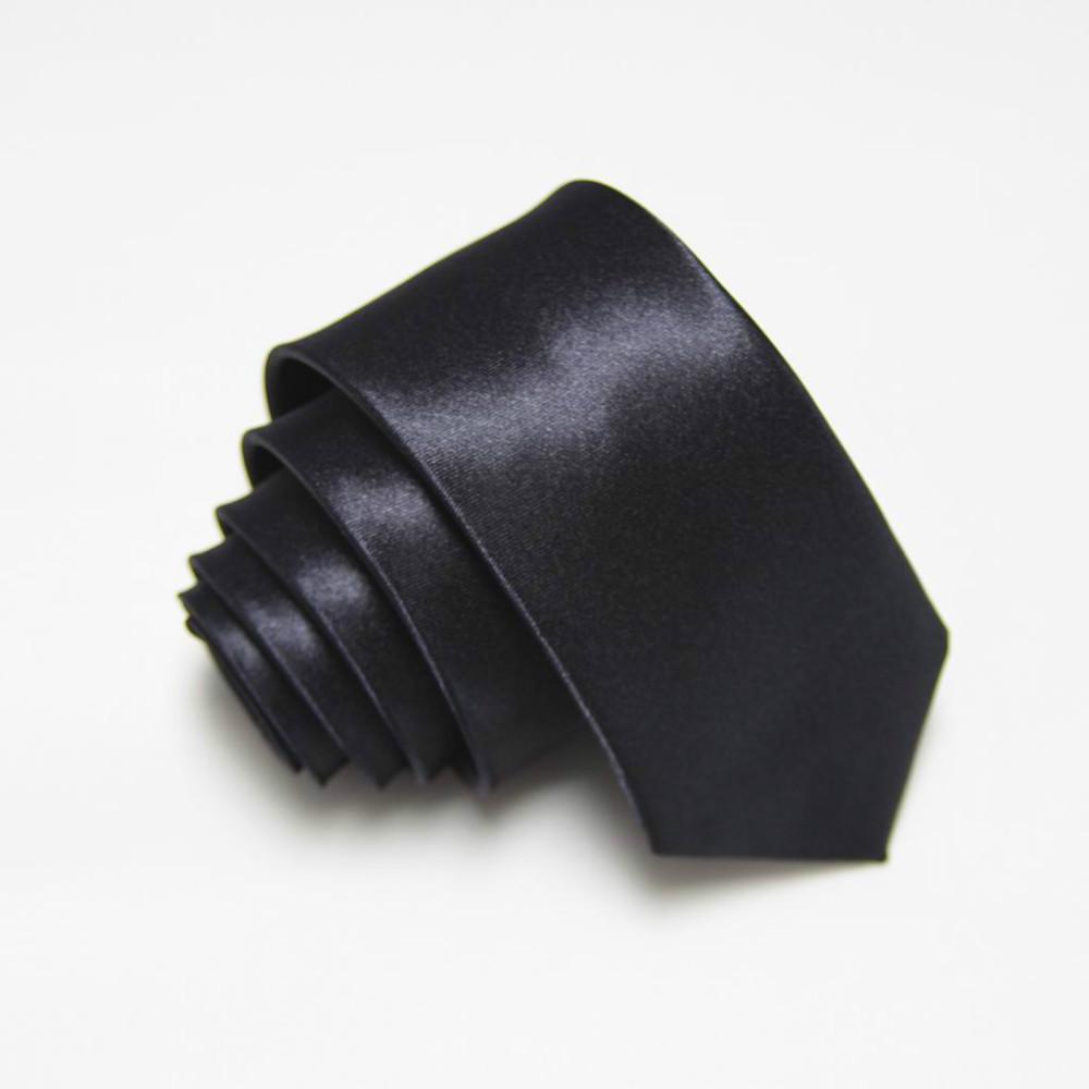 Mens Skinny Solid Color Plain Satin Tie Necktie silk tie black white necktie jacquard woven 2 #7006 - Ming outlets's store