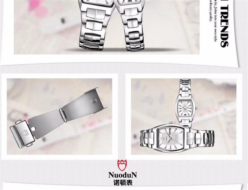 Nuodun Женщины Квадратных Часы Водонепроницаемые Часы Из Нержавеющей Стали Водонепроницаемый Календарь Классический Кварцевые Часы Женщина Relojes