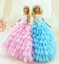 Two Colour New style  Handmade Wedding Gown Princess Dress Party Outfit Clothes For Barbie Doll Girls' Gift Hot Sell Baby Toy(China (Mainland))