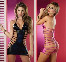 Hot Black Faux Leather Latex Sexy Lingerie Catsuit One Piece Set Women Erotic Night Dress BodySuit Costume