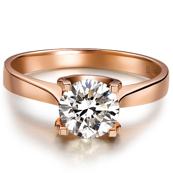 1 Carat Rose Gold 14K Simple Life Style Shiny Synthetic Diamond Women Wedding Ring Best Propose Pure Gold Party Gift For Girl(China (Mainland))