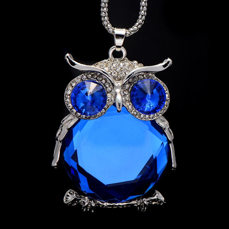 Sapphire Owl Necklace Sweater Chain Zinc Alloy Women Necklace Pendant Apparel Accessories choker(China (Mainland))